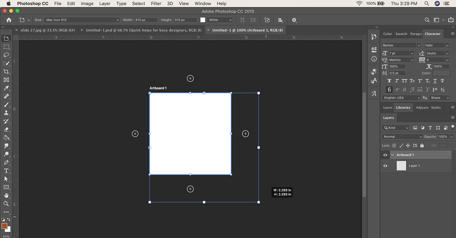 How to change artboard size in Photoshop