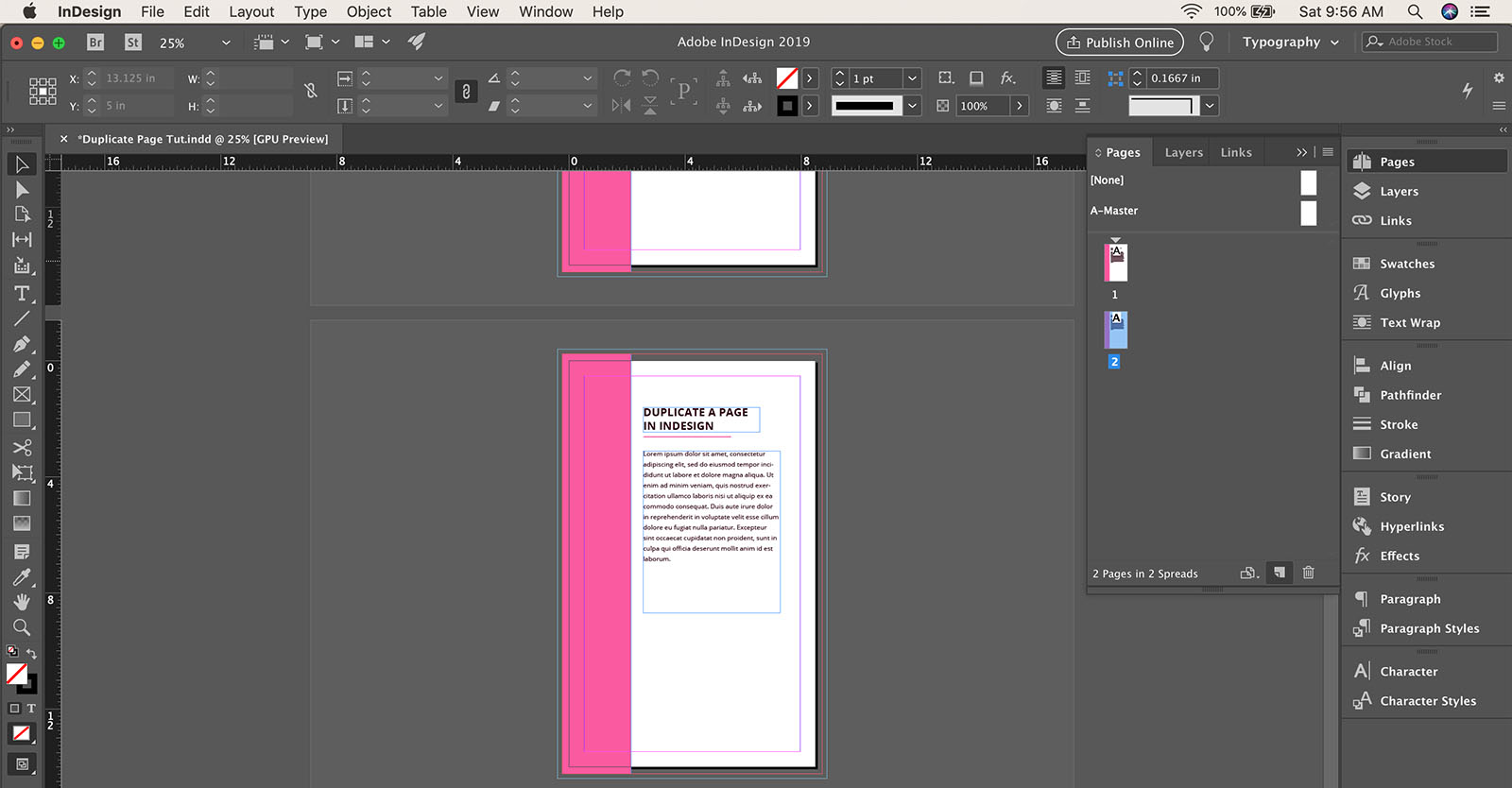 How to duplicate a page in InDesign
