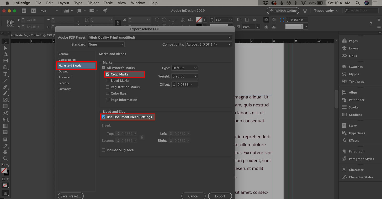 How to export PDF with crop marks in Indesign