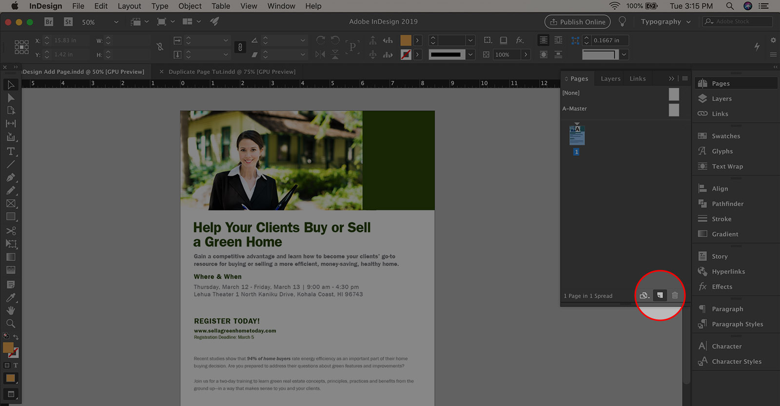 How to add a new page in InDesign