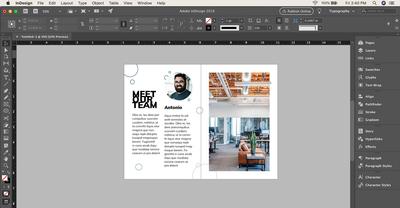 How to change gutter width in InDesign