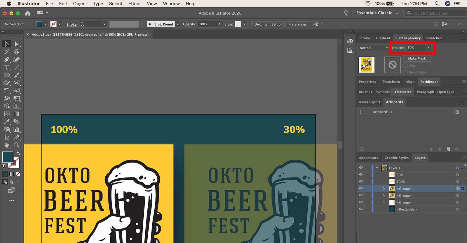 How to change object transparency in Illustrator