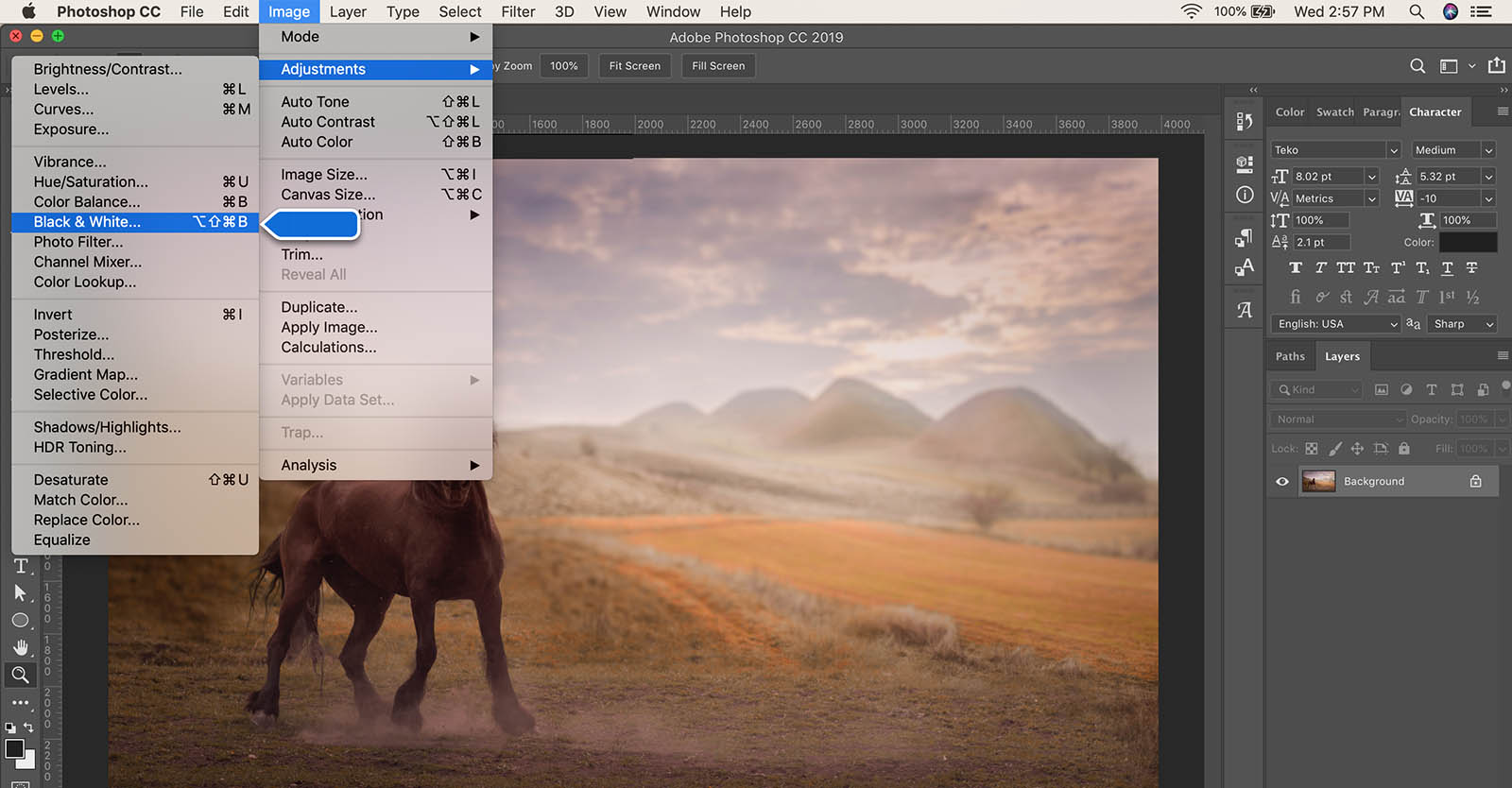 How to convert image to black and white in Photoshop