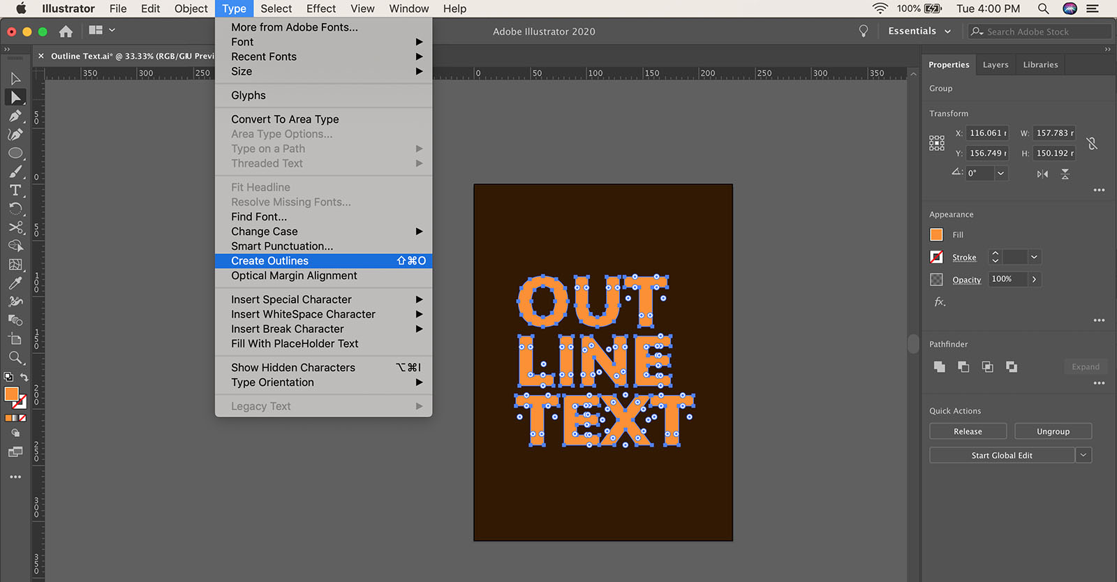 How to convert text to shape in Illustrator
