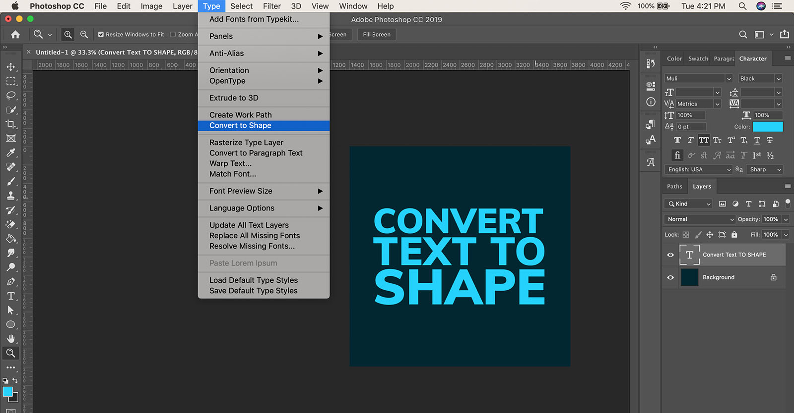 How to convert text to shape in Photoshop