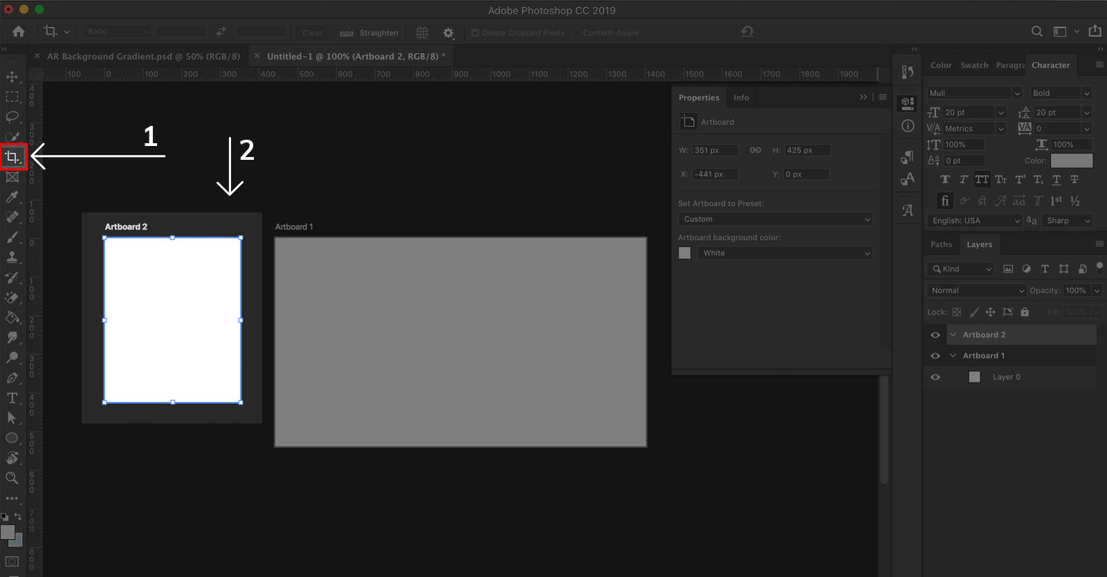 How to draw New artboards in Photoshop