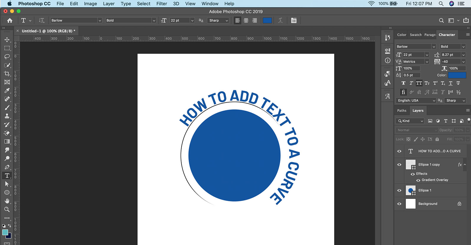 How to add text to a curve in Photoshop