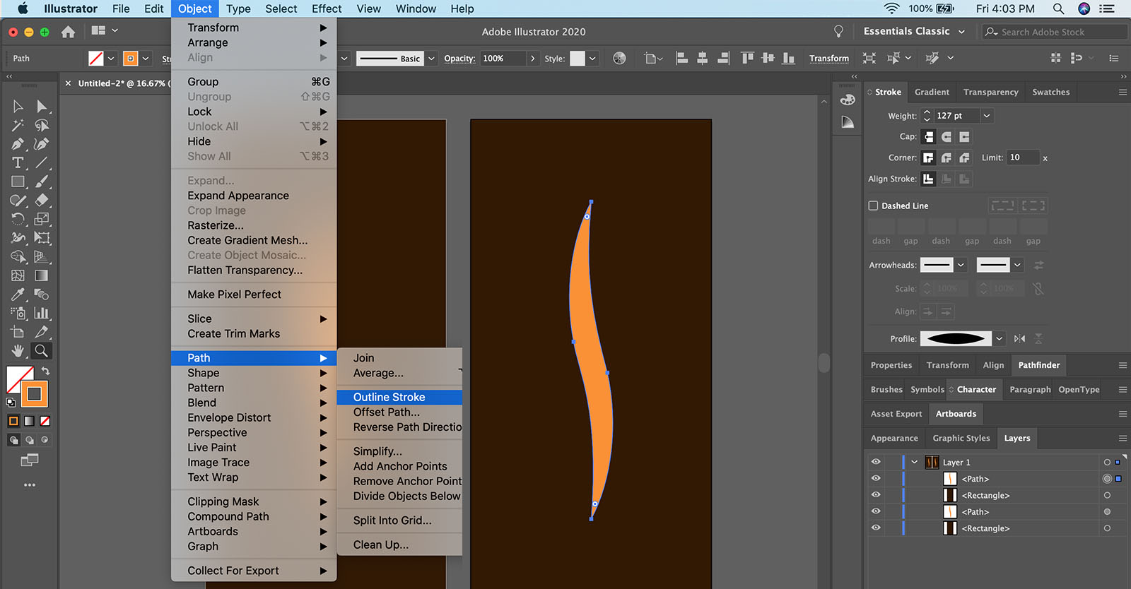 How to outline a stroke in Illustrator