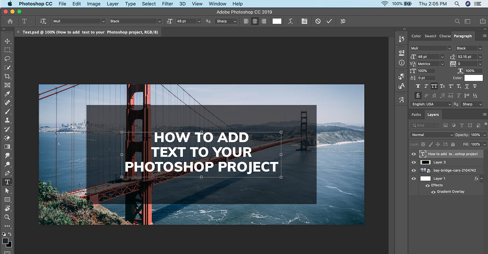 How to add text in Photoshop